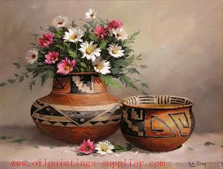 jarrones-típicos-con-flores-pinturas flores-y-jarrones-tipicos-pintados-al-oleo