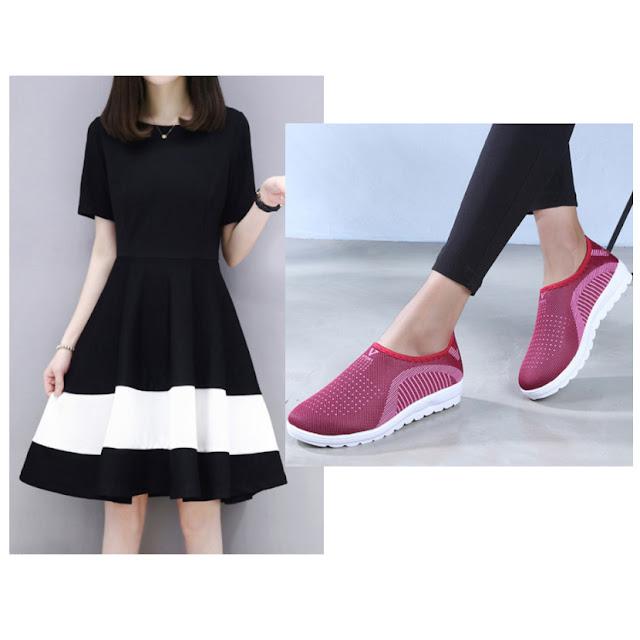 Vestido preto e tênis esportivos