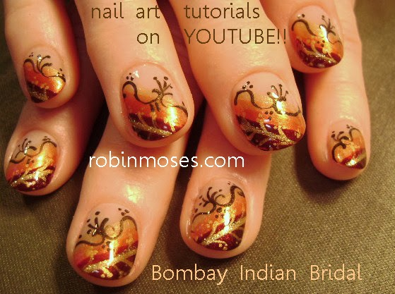 Indian Bridal Nail Art In Fall Colors Nails For Weddings