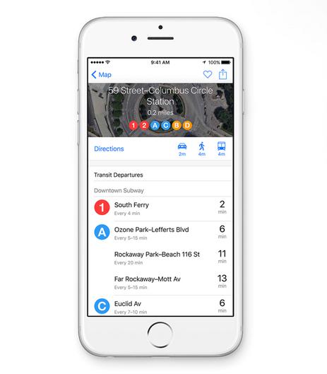 Gambar tampilan Maps terbaru pada iOS 9 terbaru