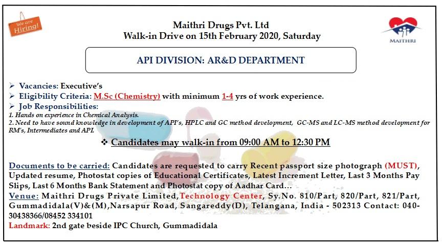 Maithri Drugs Pvt. Ltd - Walk-In Drive for AR&D on 15th Feb' 2020