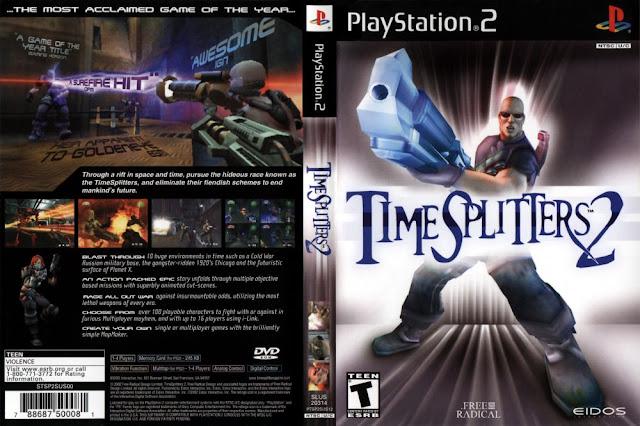 Descargar TimeSplitters 2 ps2 iso NTSC-PAL. es la segunda entrega de la saga TimeSplitters, dándole a la saga un tremendo cambio respecto a su antecesor, TimeSplitters. Su sucesor fue TimeSplitters Future Perfect. Este videojuego, lanzado en 2002continúa con la acción directa a la que incitaba TimeSplitters pero mejorada en diversos aspectos.