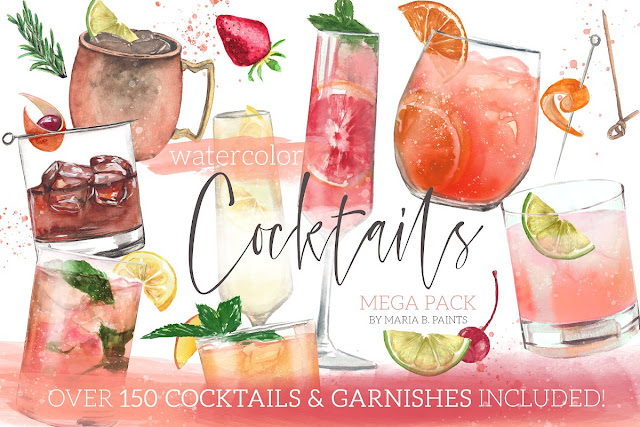 Cocktail Watercolor Clipart Set