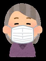 マスクを付けた人のイラスト(おばあさん)