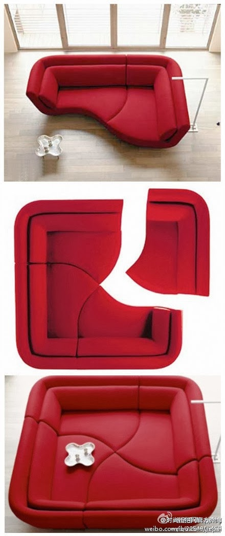Modern,Partitionable, Living room,bed room,red sofa