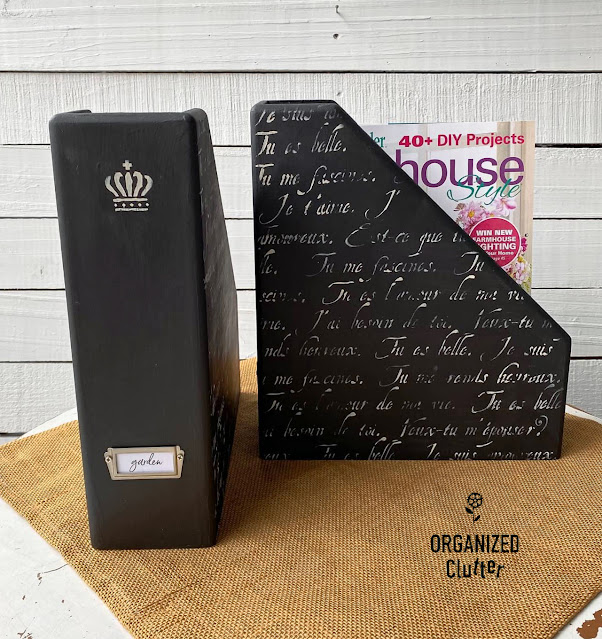 Photo of wooden file bins upcycled in black with white French script.