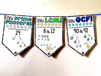 GCF, LCM and Prime Factors Math Pennant Activity