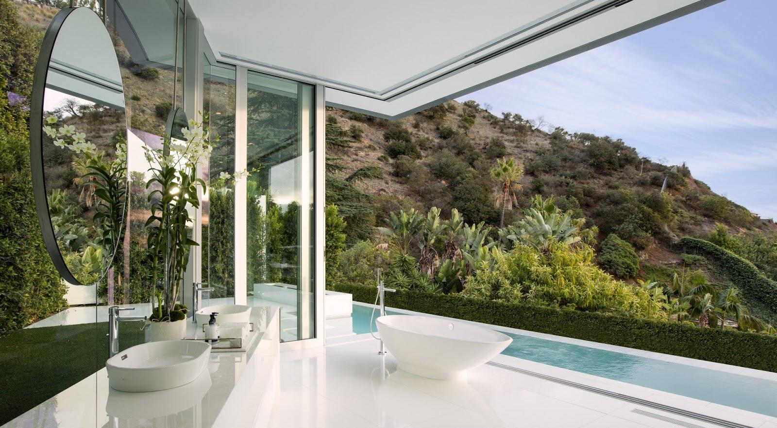 Blog de Decoração e Arquitetura : 3 Banheiros com paredes de vidro  #6C6A3D 1600x882 Banheiro Com Parede De Vidro Para O Quarto