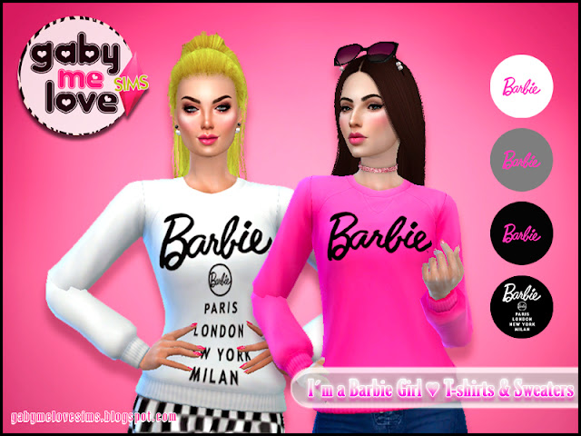 I'am a Barbie Girl ♥ T-Shirts & Sweaters, Sims 4 Sweater
