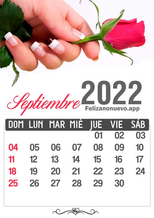 Calendario mes de septiembre 2022 para imprimir