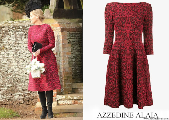Countess of Wessex wore Azzedine Alaïa red wool blend lace flared knit dress