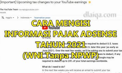 Cara Mengisi Informasi Pajak Adsense Tahun 2021