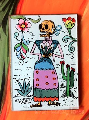 Finds and Treasures: Día de los Muertos Mirror via www.whatmandyloves.com