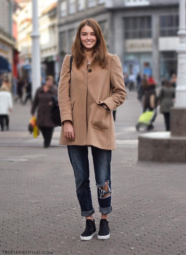 Ana Maria Jelavić, kako nositi podrapane trpaperice zimi, street fashion Zagreb, ulična moda Zagreb,