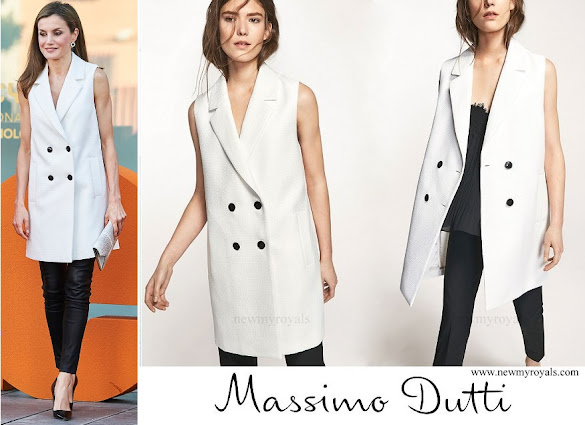 Queen Letiza wore Massimo Dutti white textured weave gilet from 2017 Spring-Summer Collection