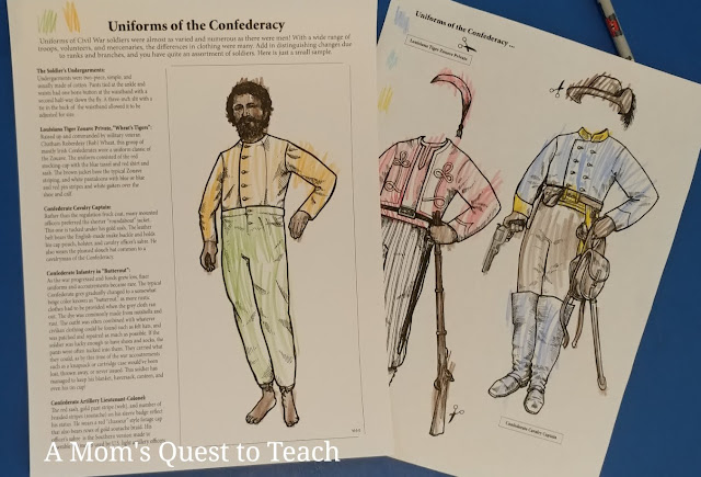 Uniforms of the Confederacy coloring pages
