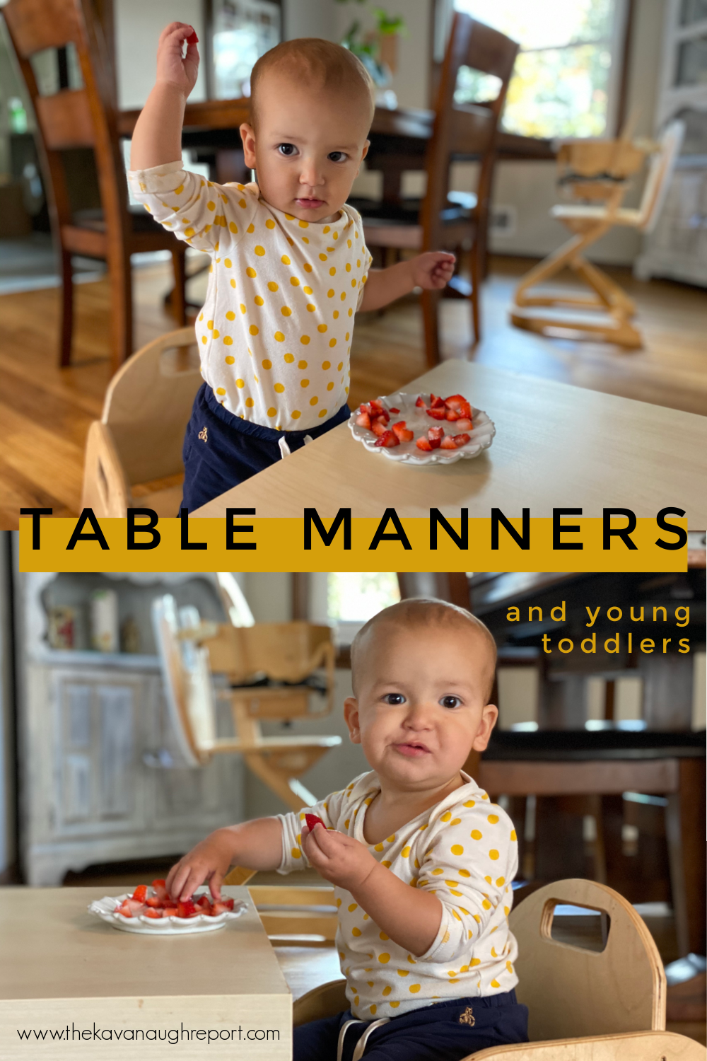 Montessori parenting advice for toddlers and mealtimes. Here's a look at how we approach meals and manners with a 1-year-old.
