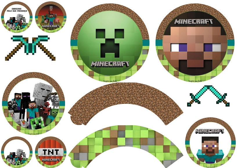 picture regarding Printable Minecraft known as Minecraft Celebration: Cost-free Printable Wrappers and Toppers. - Oh