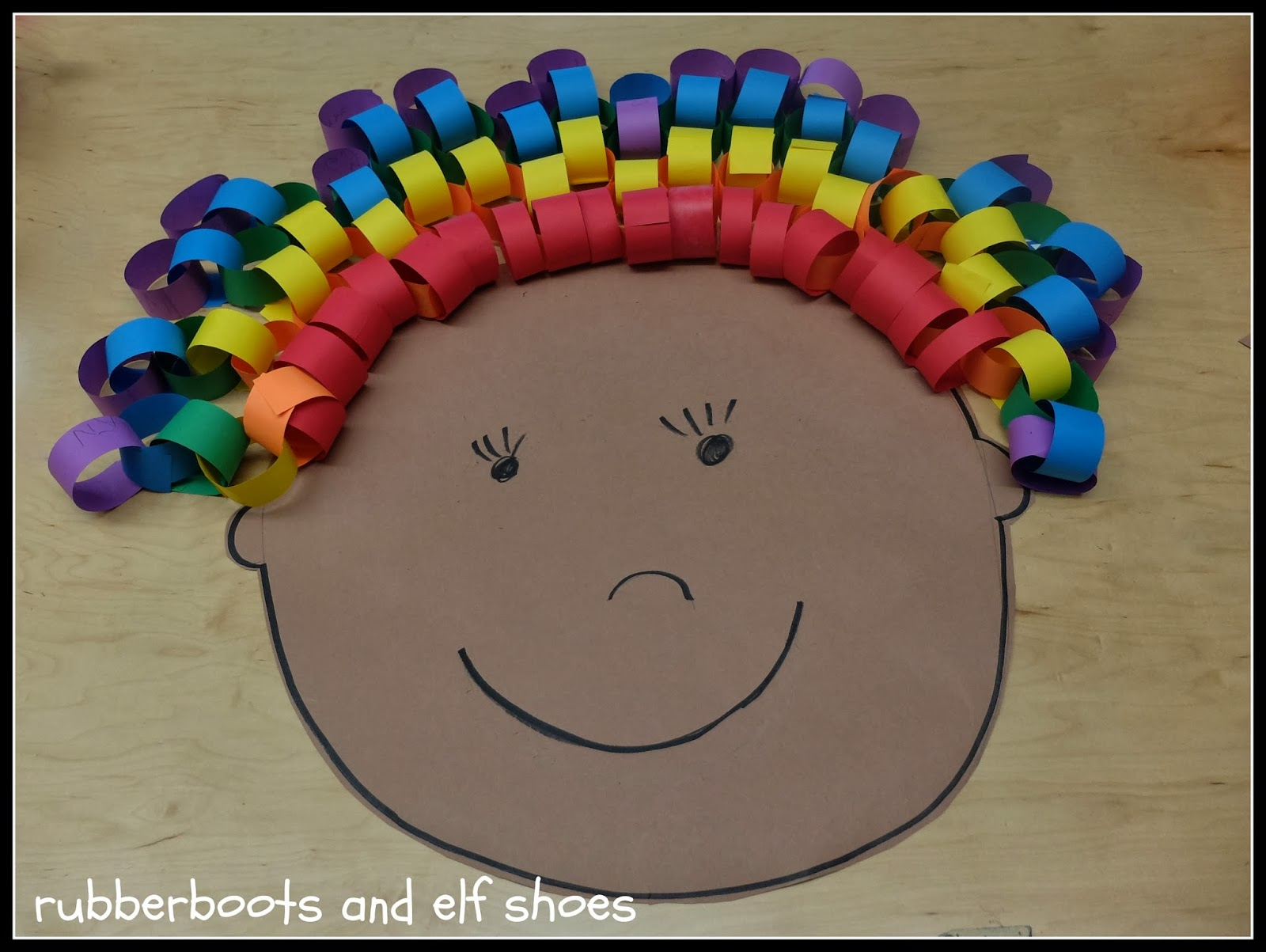 rainbow hair craft preschool activity