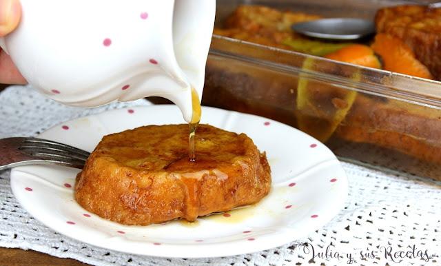 Torrijas con almíbar de miel. Julia y sus recetas