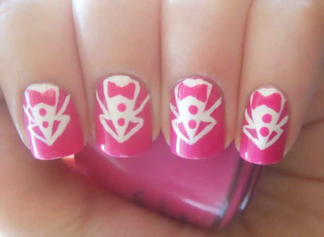 Holy Manicures: Hot Pink Tuxedo Nails.