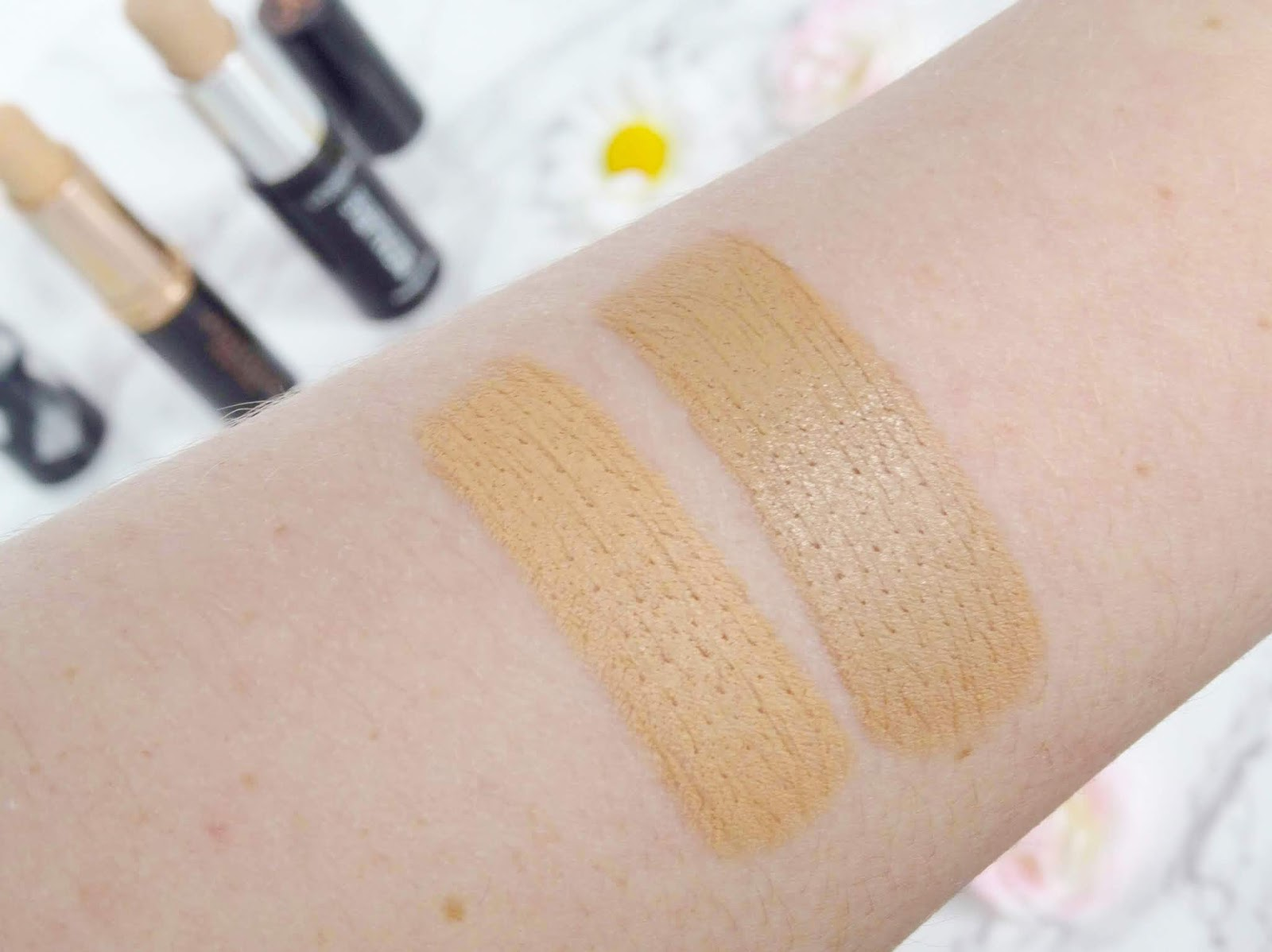 ABHs Stick Foundation in Beige Swatch and L'Oreal Infallible Stick Foundation in 160 Swatch
