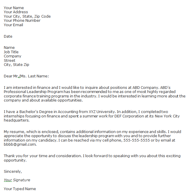 Cover Letter Example: Email Cover Letter Of Interest