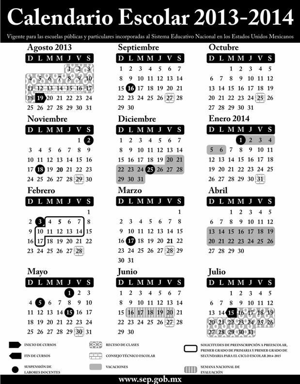 Residentes: SEP: Calendario escolar 2013-2014