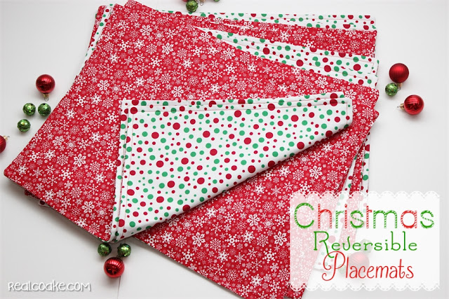 How to make placemats. Tutorial to make cute Christmas placemats that are reversible. #sewing #placemats #Christmas #RealCoake