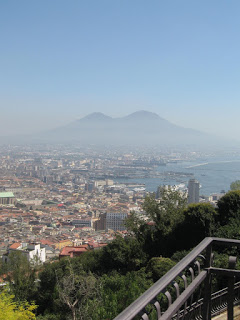 The view across Naples towards Vesuvius from the top of Vomero hill