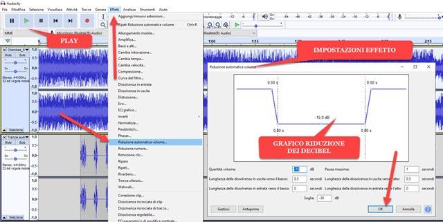 applicazione automatica della riduzione del volume con audacity