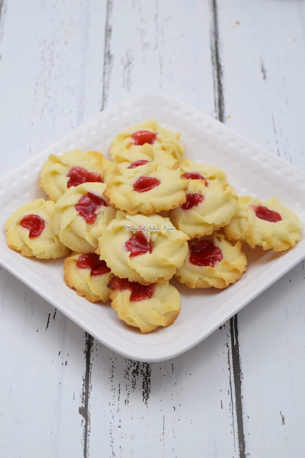 Bakery Style Piped Butter Cookies (Eggless)  - बेकरी जैसे एग्ग्लेस बटर बिस्किट्स  - Priya R - Magic of Indian Rasoi