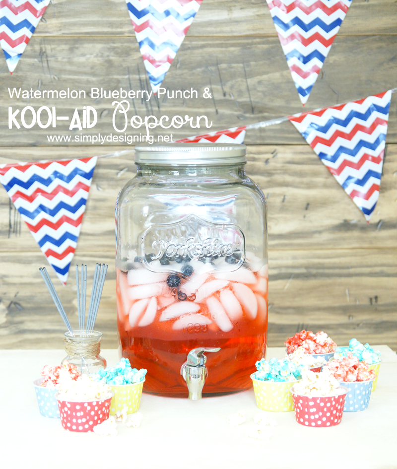 Kool-Aid Candied Popcorn + Watermelon Blueberry Punch | A fun, tasty and colorful twist on caramel popcorn!  This is super simple to make too!  Must pin for later! | #popcorn #recipe #punch #drinks #koolaid #kooloff #shop