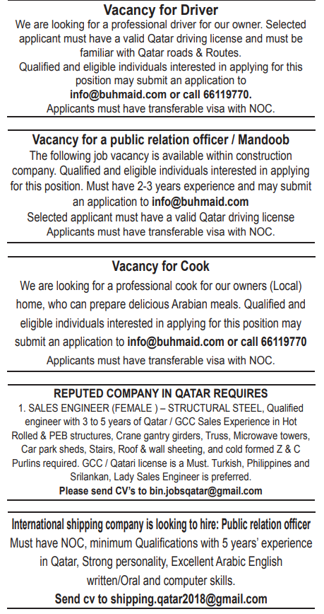 Shipping Jobs In Qatar