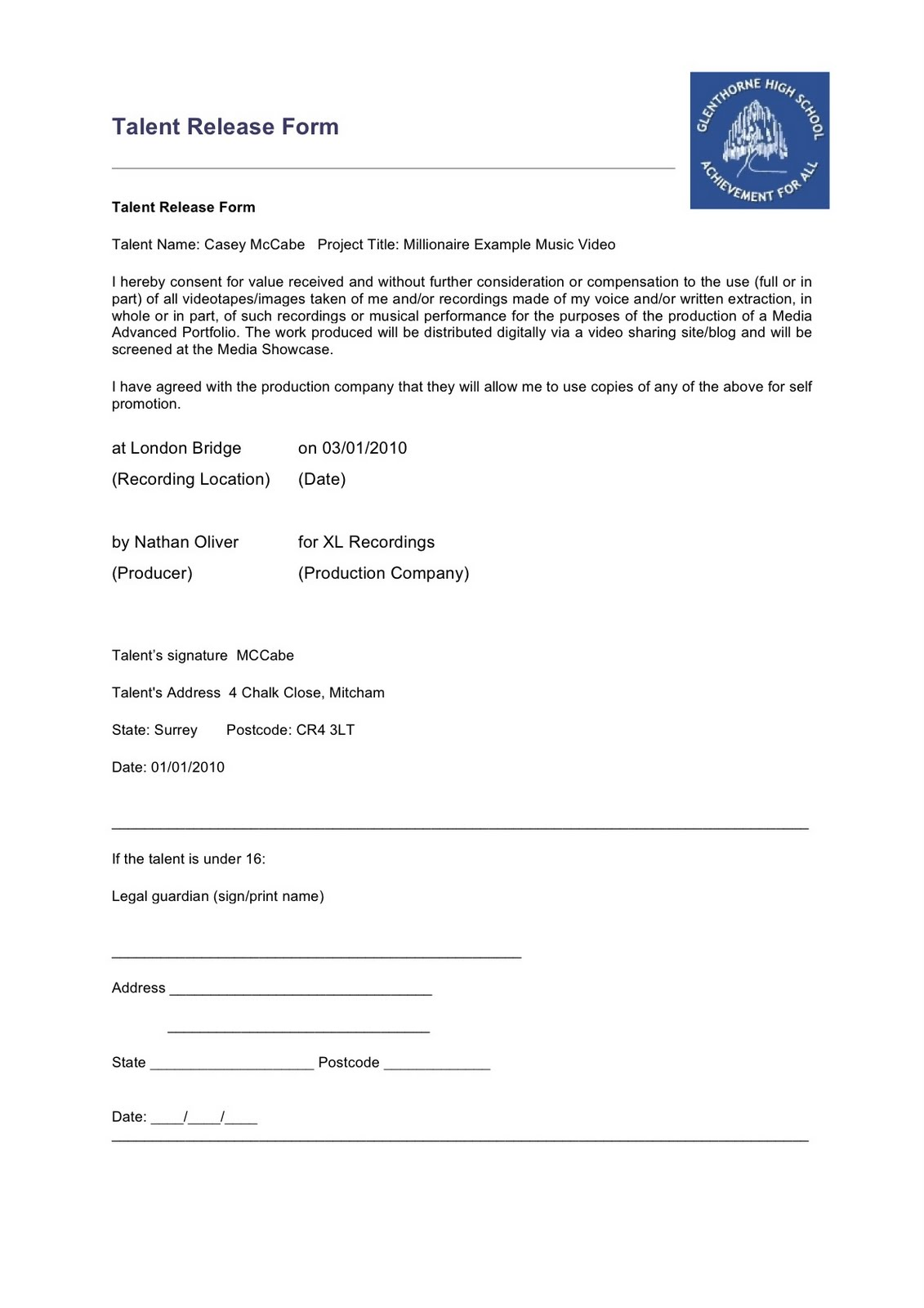 Release Form For Filming | Customer Service Resume Example