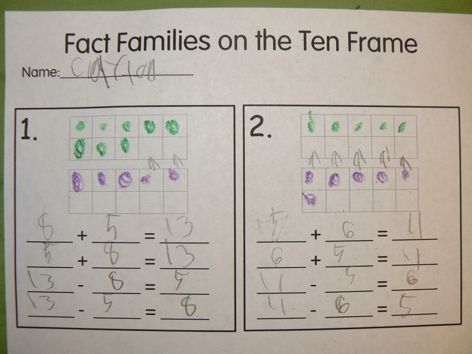 Mrs T S First Grade Class Ten Frame Fact Families