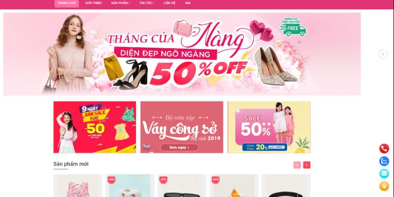 Mẫu website bán hàng thời trang nữ