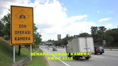 Senarai Lokasi Kamera AWAS 2018 Malaysia