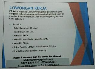 Loker Lampung Terbaru Juni 2018 di PT. Jalur Nugraha Ekakurik Bandar Lampung