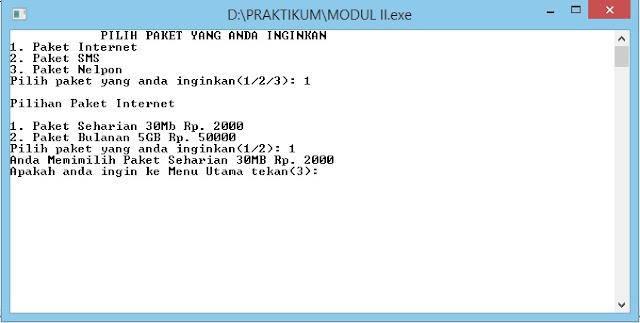 Contoh program Statement Control Dan Looping, menggunakan bahasa pemprograman C++