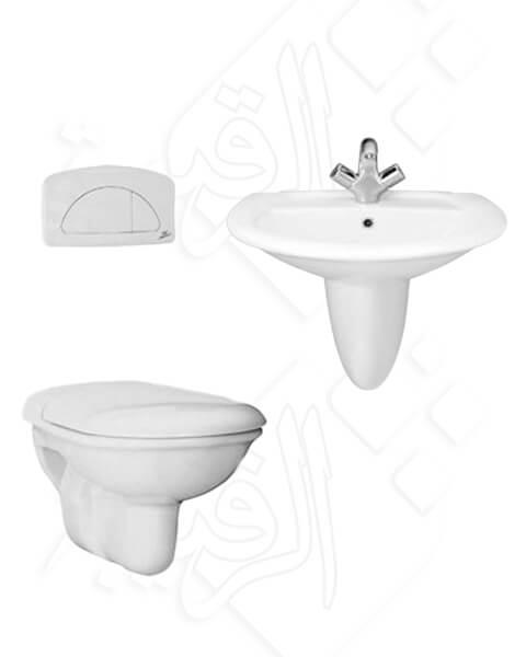 طقم حمام معلق بخزان مدفون ايديال ستاندر أبيض كامل موديل مانتا MANTA