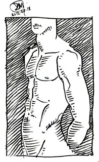 Pen and ink sketch of male torso by David Meldrum