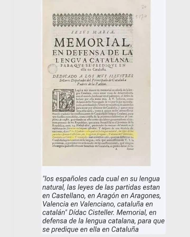 Memorial en defensa de la lengua catalana para que se predique en ella en Cataluña.