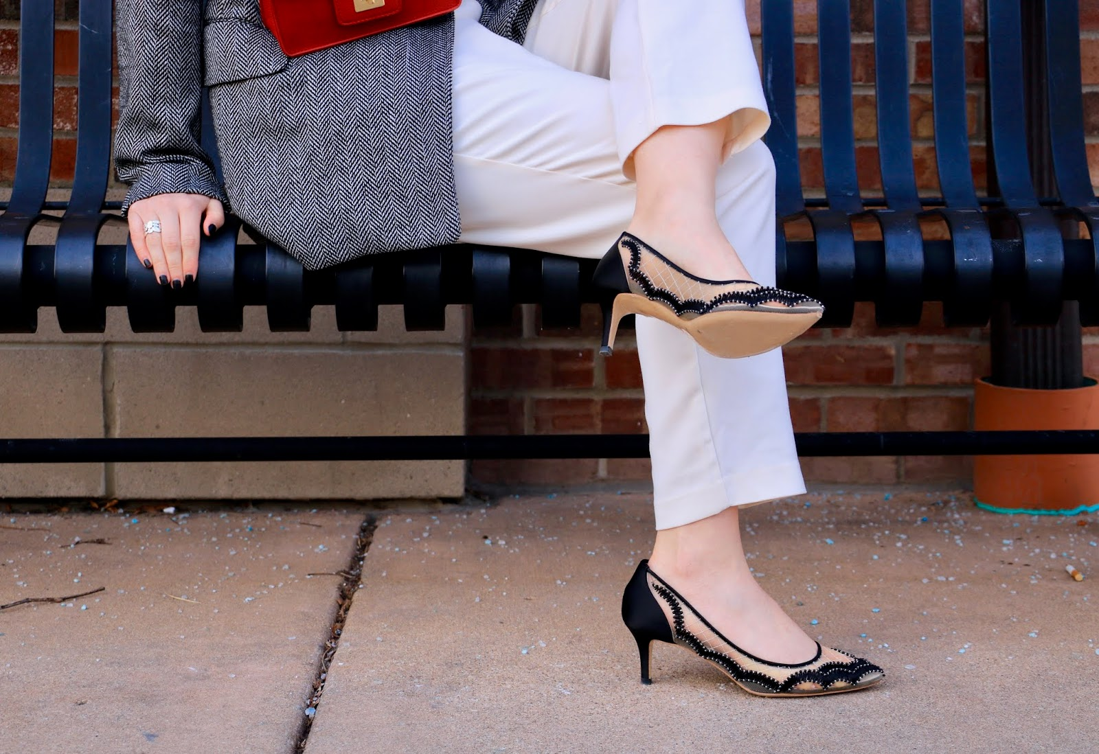 Nyc fashion blogger Kathleen Harper wearing Bella Belle sheer heels.