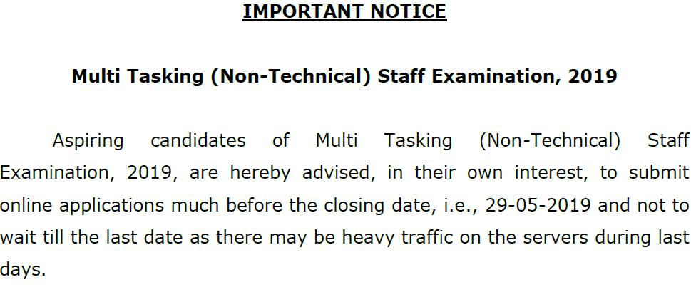 SSC MTS 2019 Notice