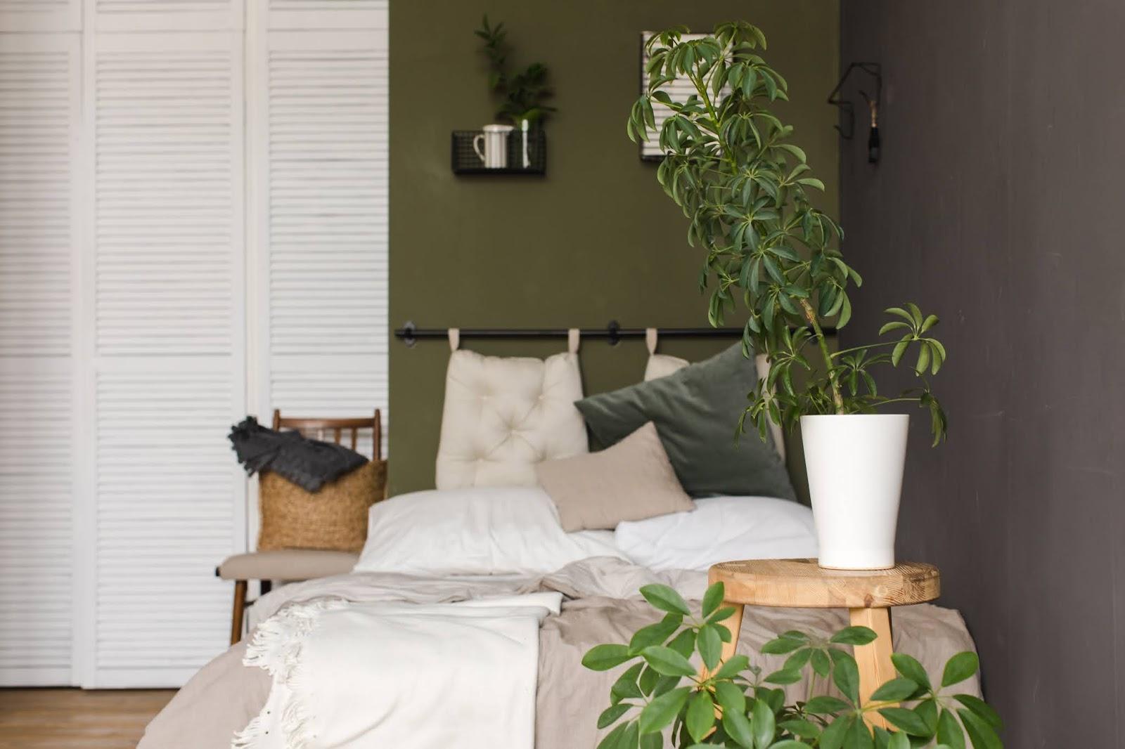 Dormitorio moderno con pared verde y ropa de cama en beige, y muchas plantas