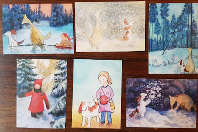 Hulmu and Haukku postcards for winter. Also some children postcards..