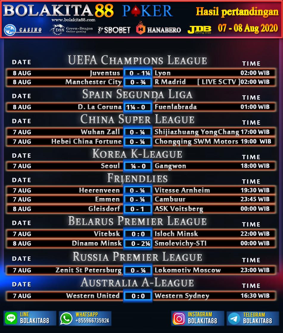 Jadwal Pertandingan Sepak Bola 07 - 08 Agustus 2020 ...