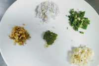 Chopped Garlic ginger onion, green chili paste, spring onions for lobster hot garlic sauce recipe