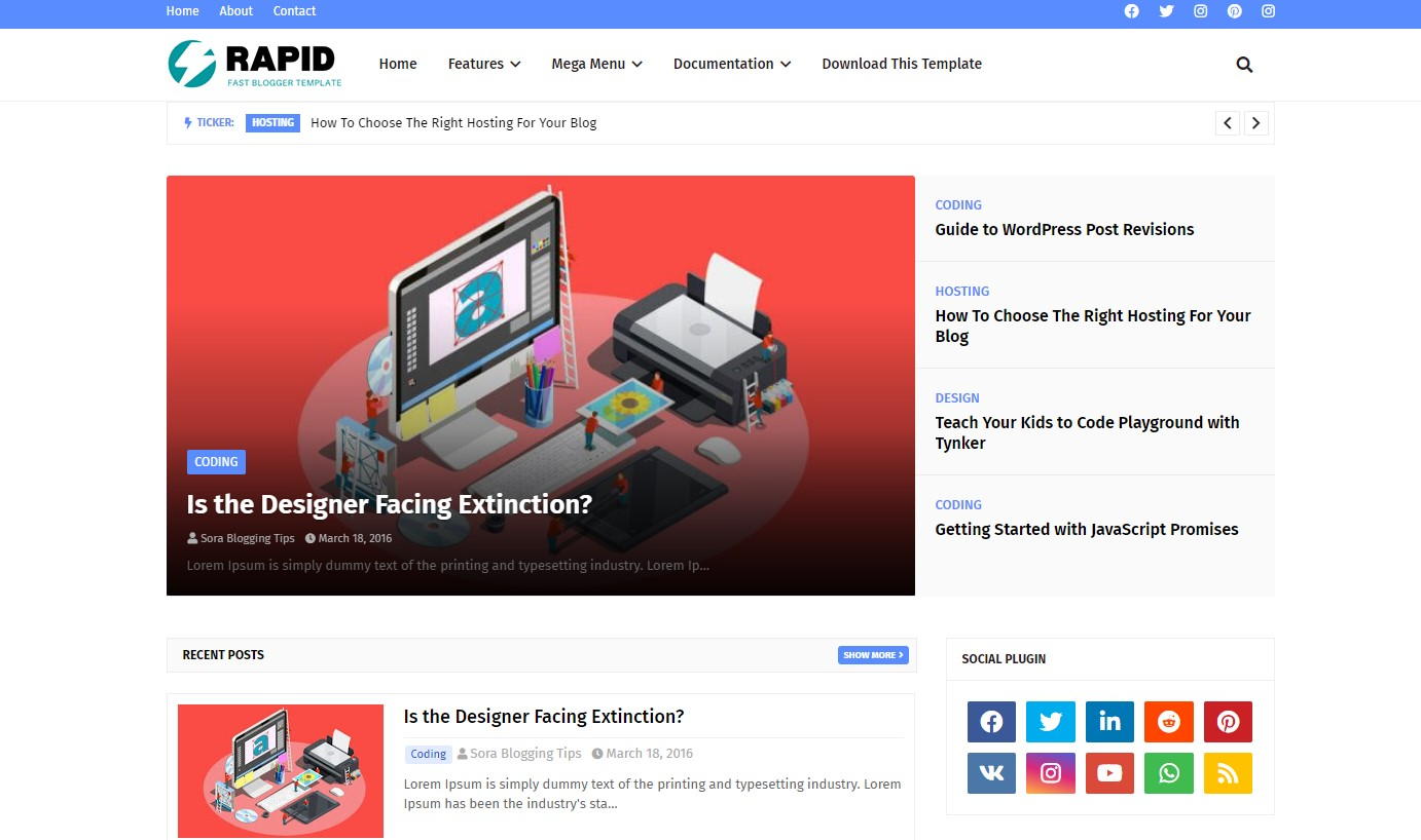 Download Rapid v1.0 | Free Reponsive Seo Friendly Blogger Theme